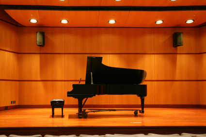 Concert Grand Piano on Stage